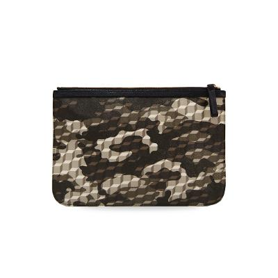 cube & camouflage-print clutch bag